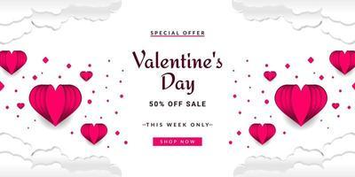 Valentine Day sale background vector
