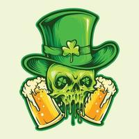 St Patrick Skull with two beer glasses vector