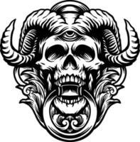 Hroned Skull Graphic vector