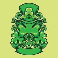 St Patricks Hat ornament and clovers banner vector