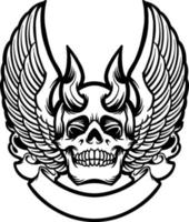 Wing Skull Horned Graphic vector