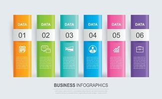 Índice de papel de pestaña de infografías con plantilla de 6 datos. ilustración vectorial resumen de antecedentes. se puede utilizar para el diseño de flujo de trabajo, paso empresarial, banner, diseño web.