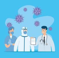 grupo de doctores luchando contra el coronavirus vector
