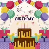 fiesta de cumpleaños feliz con pastel, globo, vela y caja vector