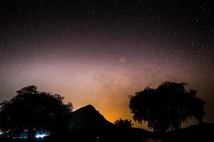 Milky way in the nigh sky above mountains photo