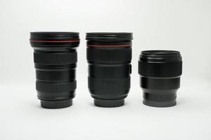 tres lentes de cámara foto