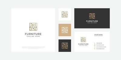 Modern abstract furniture logo with business card. vector