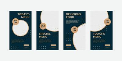 Food social media stories template vector