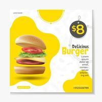 Burger or fast Food social media post template vector