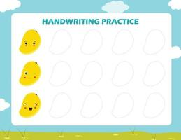 Handwriting practice sheet illustration vector, set of trace the geometric shapes around the contour. learning for children, drawing tasks vector