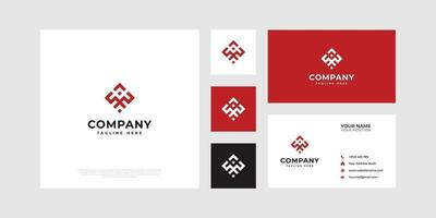 Abstract logo symbolizing cooperation with business cards. vector