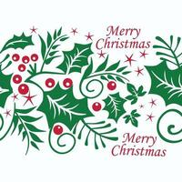 Seamless Christmas pattern with red berries and green leaves on white background. Vector illustration.