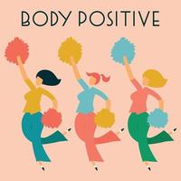 Body positive card with three dancing ladies. Vector illustration.