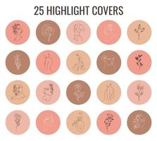Set of pastel colors vector highlight covers. Abstract backgrounds, shapes, lines, spots, dots, doodle objects with linear flowers and woman face. Round icons for social media stories.