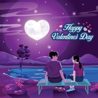 Magical Night scene Valentine's Day Wish vector