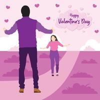 saludos de san valentin con chico y chica vector