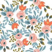 Seamless floral pattern with roses and leaves on white background. Vector illustration.