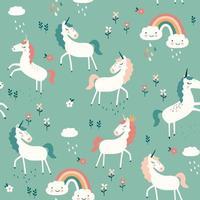 patrón sin fisuras con unicornios, arco iris, nubes y flores. ilustración vectorial vector