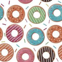 Seamless pattern with colourful donuts on white background. Vector illustration.