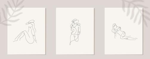 establecer figura de mujer lineal. silueta lineal continua de rostro femenino. contorno dibujado a mano de chicas avatares. logotipo de glamour lineal en estilo minimalista para salón de belleza, maquillador, estilista vector