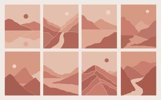 ilustraciones estéticas de paisajes de montaña abstractos minimalistas modernos. decoración de pared de estilo bohemio. colección de grabados artísticos contemporáneos vector
