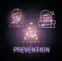 coronavirus de luz de neón con iconos de prevención vector