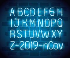alfabeto con luz de neón ncov 2019 vector