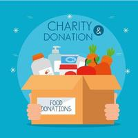 Caja de caridad y donación con comida. vector