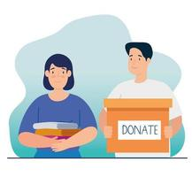 couple with box for charity and donation vector