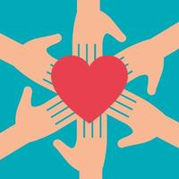hands with heart symbol for charity donation vector