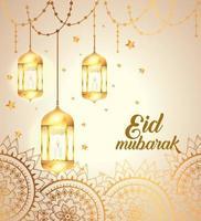 eid mubarak poster with lanterns hanging and mandalas vector