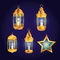 set lanterns with star of eid mubarak decoration vector