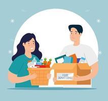 pareja con cajas para caridad y donación. vector