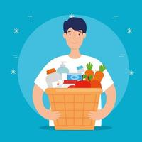 man with box for charity and donation vector