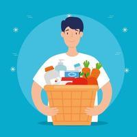 hombre con caja para caridad y donación vector
