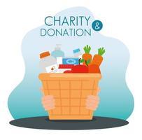 Canasta de caridad y donación con comida. vector
