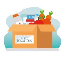 Caja de caridad y donación con comida y medicina. vector