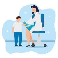 médico vacunando a un niño en la consulta vector