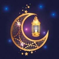 cartel de eid mubarak con luna y linterna vector