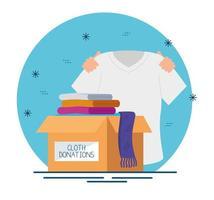 Caja de caridad y donación con ropa. vector