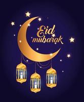 eid mubarak poster with moon and lanterns hanging vector