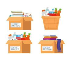 set of charity and donation icons vector