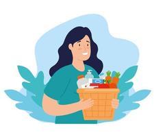 mujer con caja para caridad y donación vector