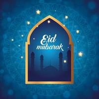 eid mubarak poster with silhouette of mosque and decoration vector