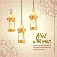 eid mubarak poster with lanterns hanging and decoration vector