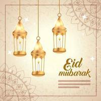 cartel de eid mubarak con linternas colgando y decoración. vector