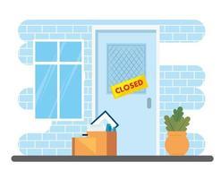 empresa de fachada cerrada con cajas y objetos vector