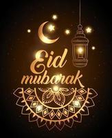 cartel de eid mubarak con decoración de linterna y luna vector