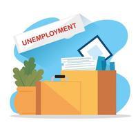 cajas con objetos de un desempleado vector