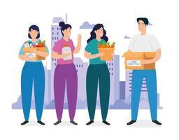 personas con caja para caridad y donación. vector